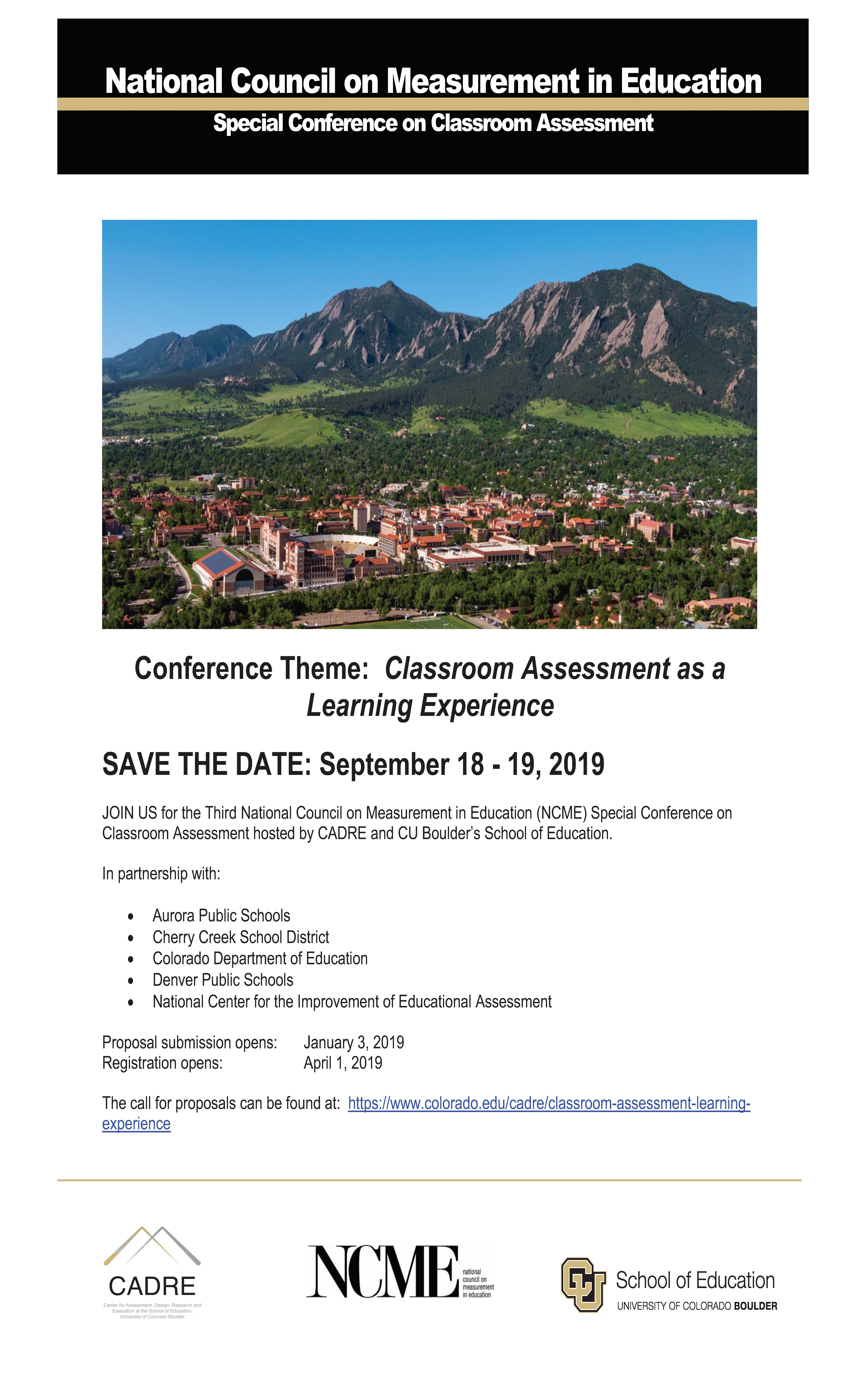 NCME 2019 Conference Classroom Assessment as a Learning Experience