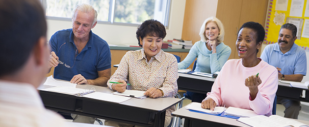 Adult learners in a classroom.