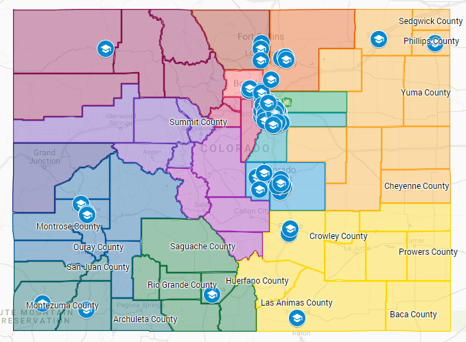A google map of the various adult education programs in Colorado receiving funds through AEI, including information about their sites, services and their workforce areas.