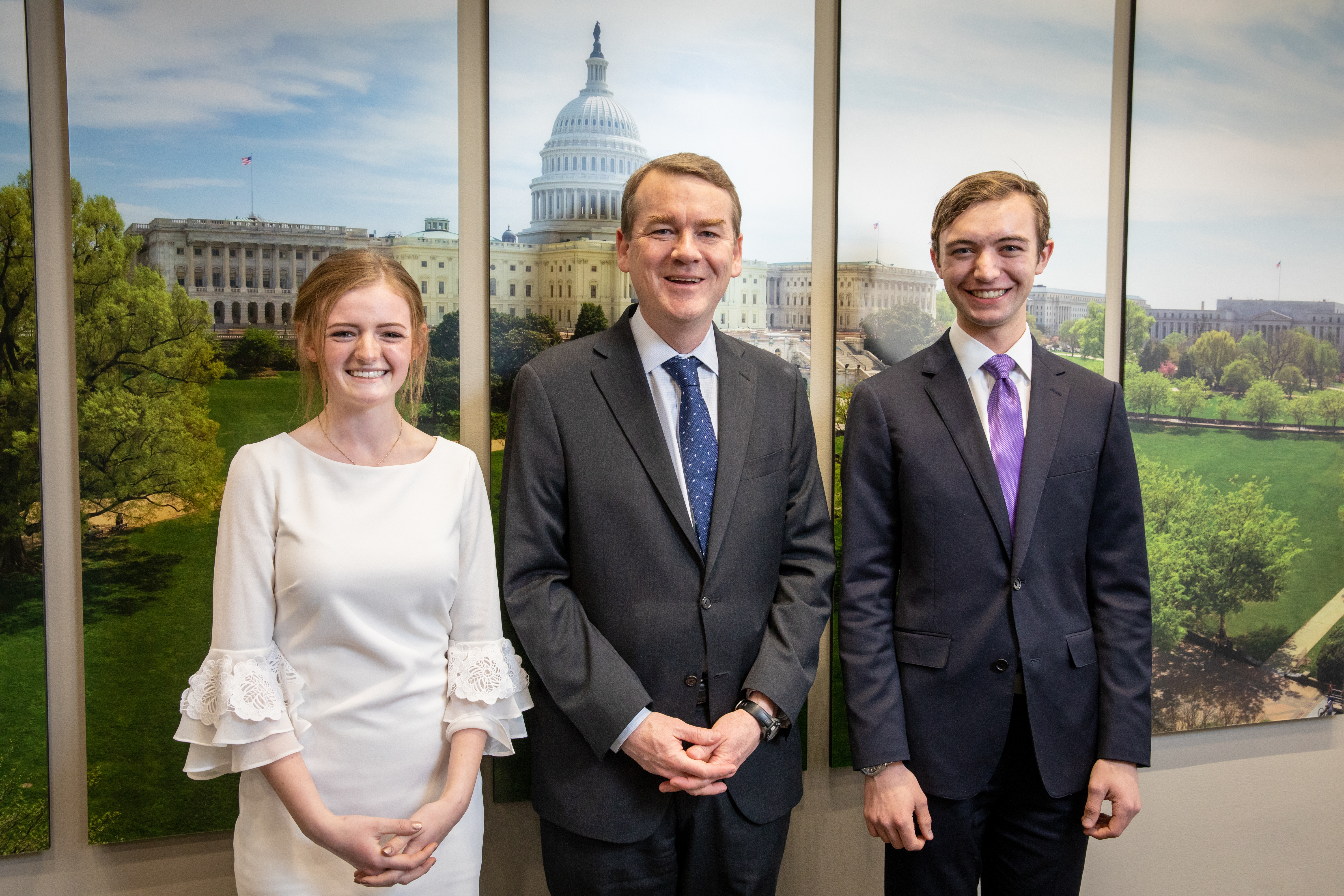 Senator Michael F. Bennet with Senate Youth Delegates Anne Marie Ackerman and Ethan Wearner
