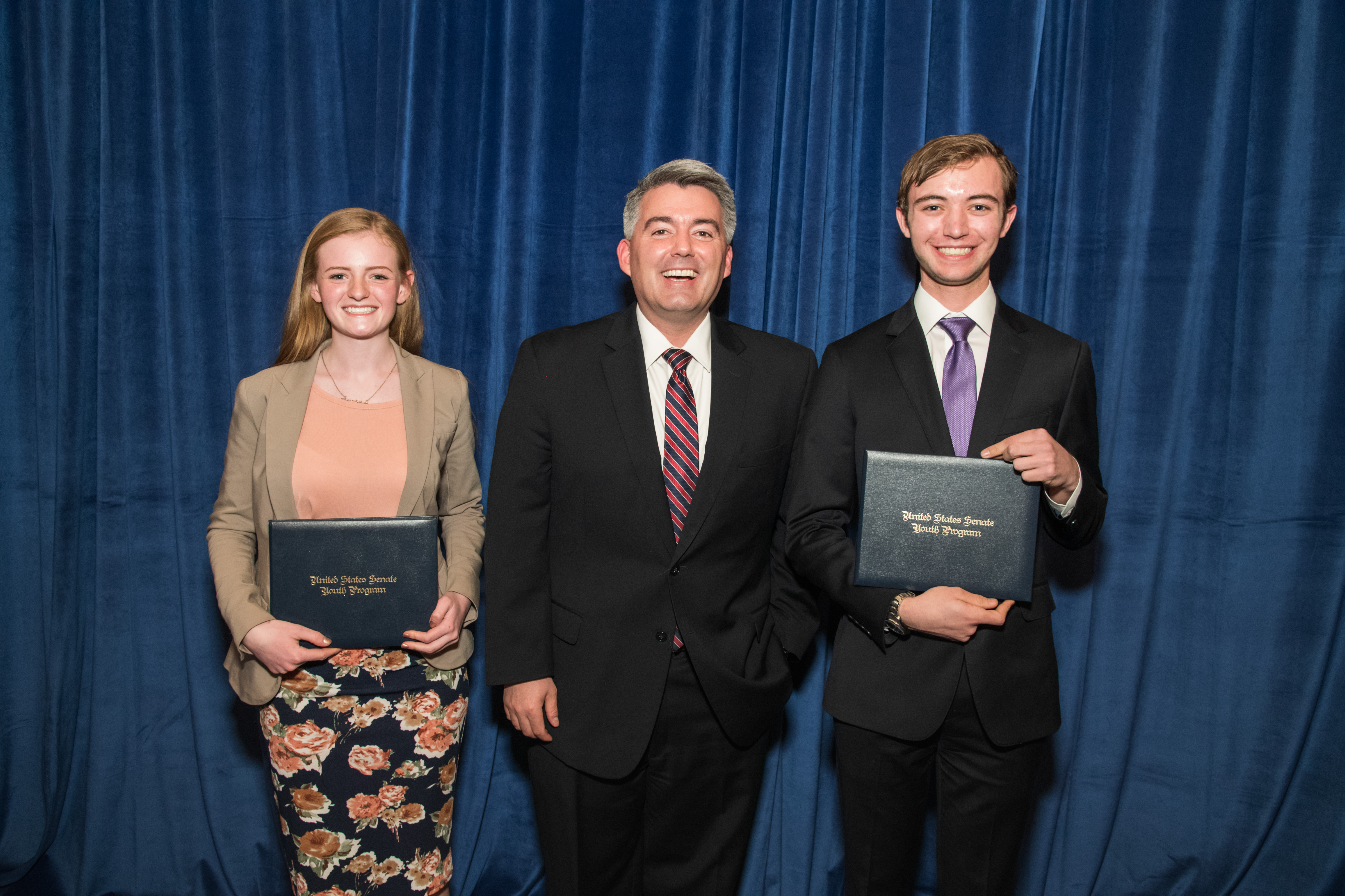 Congressman Cory Gardner with Senate Youth Delegates Anne Marie Ackerman and Ethan Wearner.