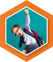 Young boy wearing backpack pumping fist in the air to represent key initiative quality schools for strategic plan