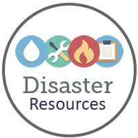 Disaster resources with icons for flood and fire, tools and clipboard