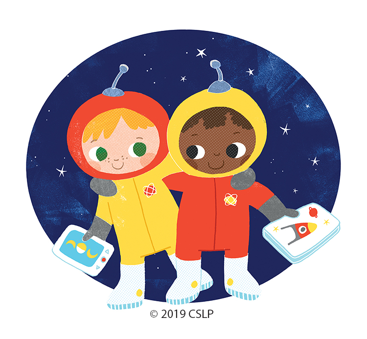 Drawing of 2 girls in spacesuits with books and tablets for the 2019 colorado summer learning theme, a universe of stories