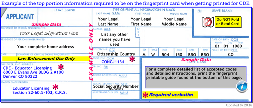 Sample of a completed fingerprint card specifically for CDE.