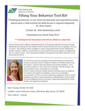 Picture of the Flyer - Filling Your Behavior Toolkit (Elementary), October 18, 2016