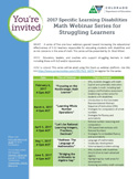 Picture of the Flyer: 2017 SLD Math Webinar Series for Struggling Learners (Feb-June 2017)
