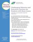 Picture of the flyer for Challenging Behavior and Executive Function for Students with Brain Injury, Multiple Dates 2015-2016