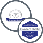 Graphic showing both the 2009 and 2020 logos for drama and theatre arts