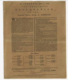 First Issue of the Declaration of Independence