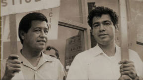 Former boxer Corky Gonzales with Cesar Chavez