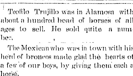 San Luis Valley Courier Article 1889