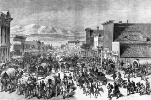 Rendering shows Chestnut Street in Leadville, Lake County, Colorado, with men, women, children, dogs, covered wagons, stagecoaches, and buckboards.