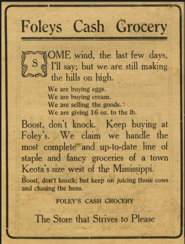 Foley's Cash Grocery Advertisement