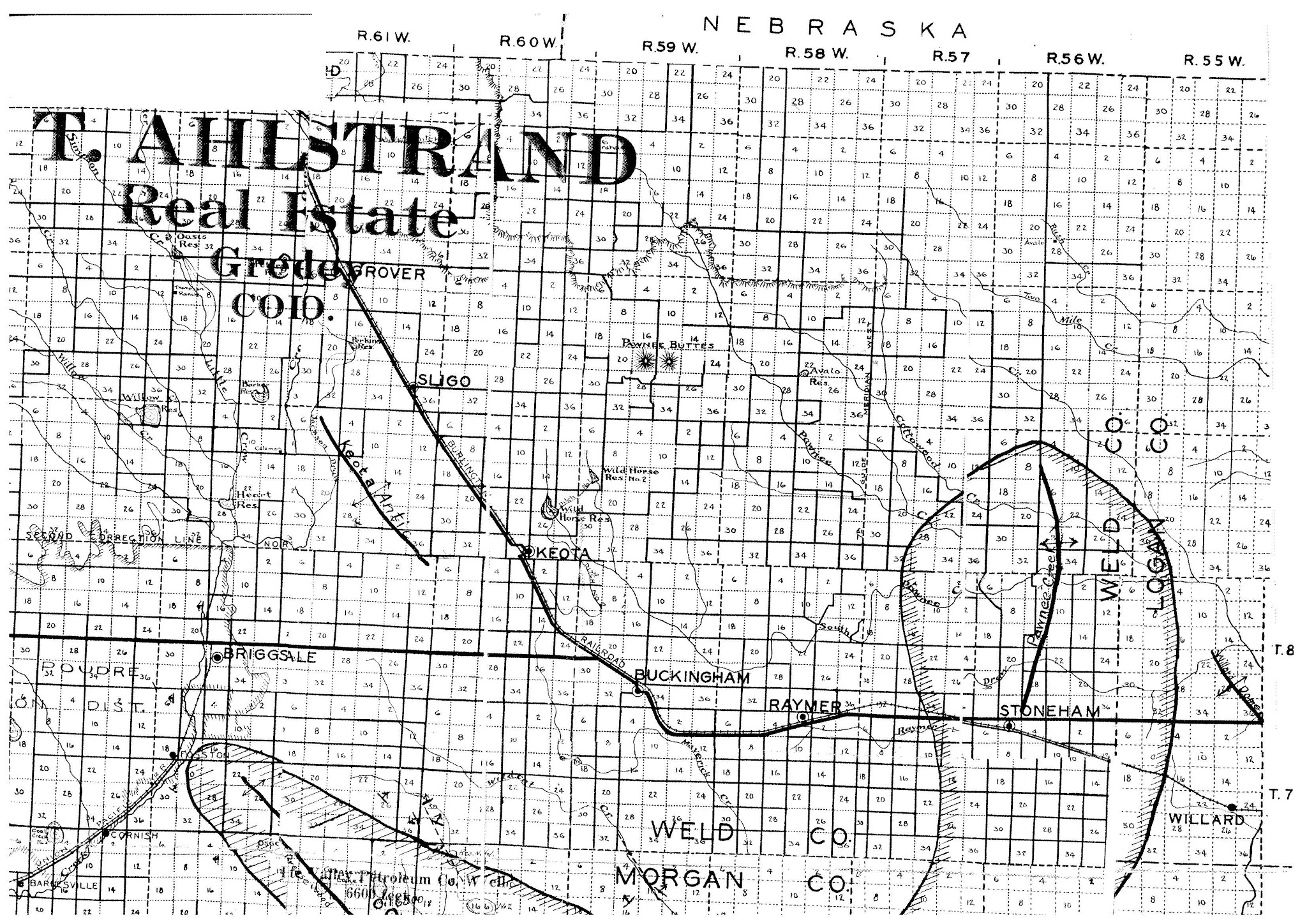 Ahlstrand map section showing land parcels in Northern Colorado