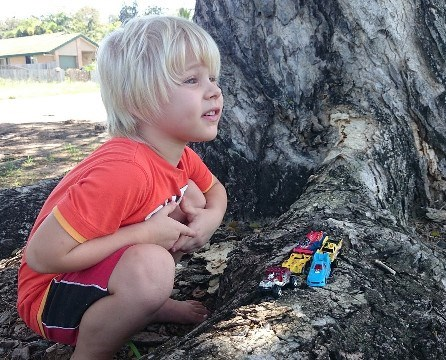 Preschool Boy playing with cars by a Tree