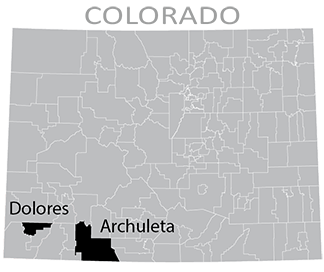 Colorado map showing Dolores and Archuleta School Districts