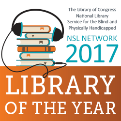 Graphic of books with headphones to represent the Colorado Talking Book Library's award
