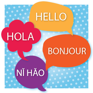 Bubbles with Hello in different languages to represent English Learner programs
