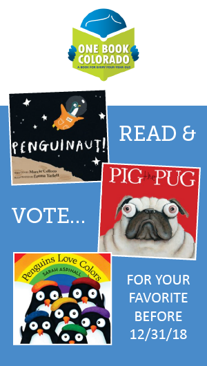 Graphic with photos of each book for voting for One Book Colorado program