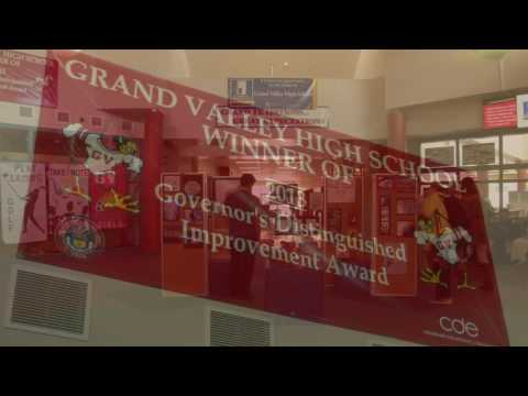 Photo of banner awarded to Grand Valley high school for governor's distinction award