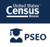 Logo:  US census bureau and Postsecondary Employment Outcomes (PSEO)