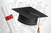 Icon of graduation cap and diploma to represent release of graduation and dropout rates