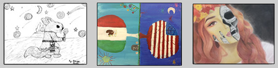 Artwork from the 2017 11th Annual Culturally and Linguistically Diverse Education Academy Award Winners from Colorado elementary, middle, and high schools