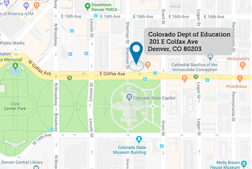 Map indicating the location of the Colorado Department of Education