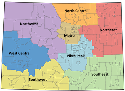 Colorado Education Regions Map: Northwest, North Central, Northeast, Southeast, Southwest, West Central, Metro, Pikes Peak