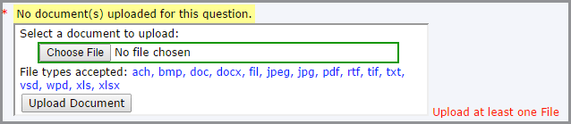 elicensing dialog box used to upload a file