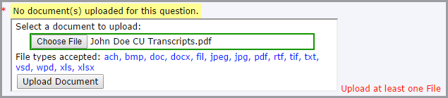 elicensing dialog box used to upload a file; file is ready for upload