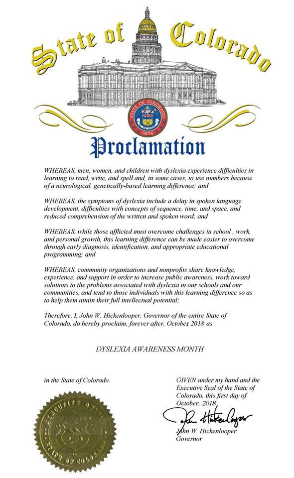 October Dyslexia Awareness Proclamation