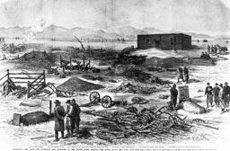 A reproduction of a sketch of soldiers - The Meeker Massacre