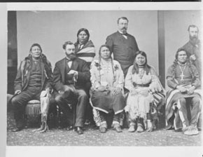 Group portrait of North American Indian (Ute) men and women