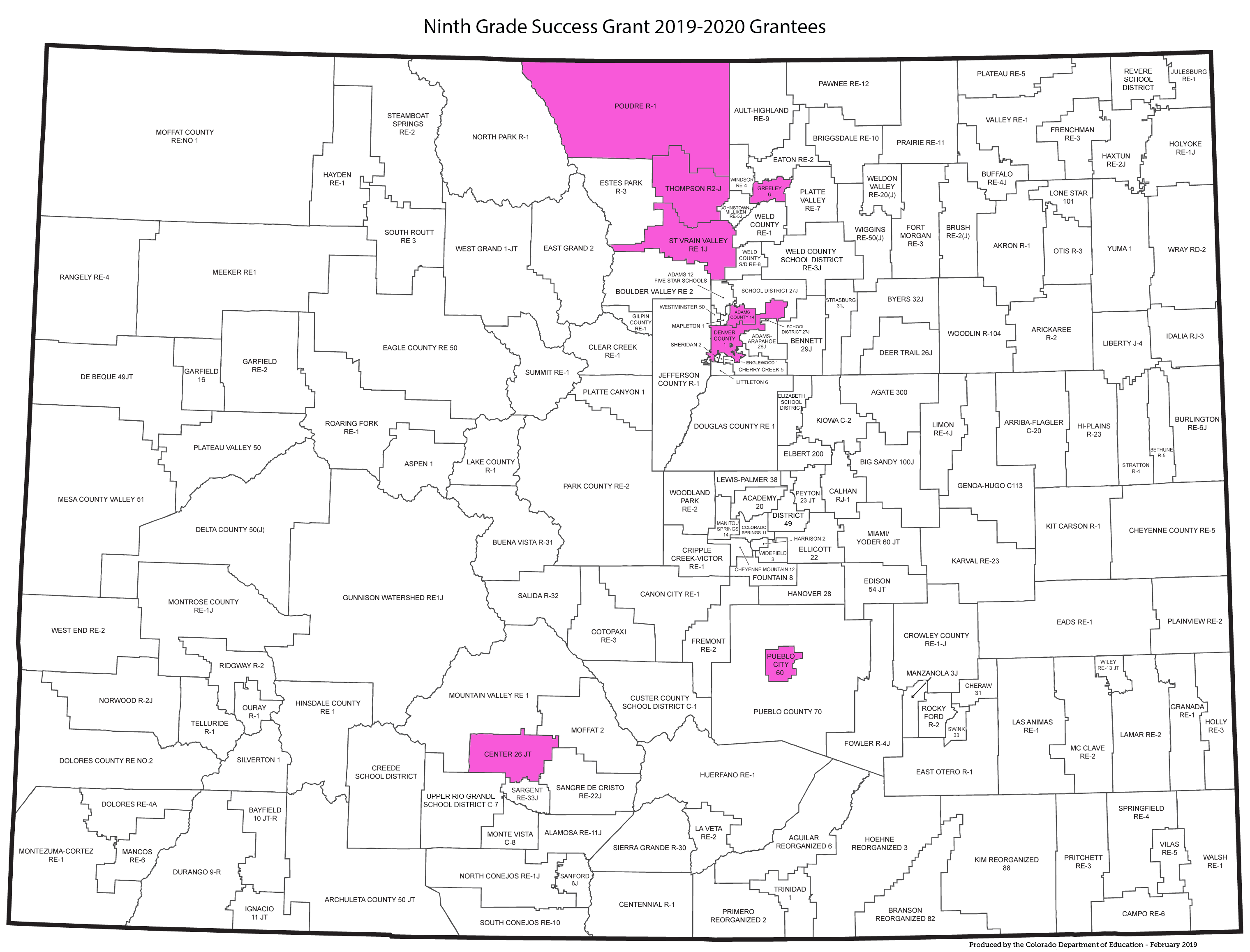 Map with Adams 14, St Vrain, Denver, Harrison, Poudre, Thompson, Pueblo 60, Center, and Greeley 6