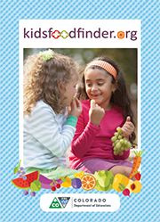 Postcard front: kidsfoodfinder.org two young girls eating fruit outside.