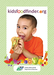 Postcard front: kidsfoodfinder.org young boy eating a taco.