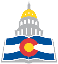 Colorado State Publications Library logo - state capitol with book showing state flag