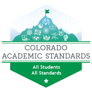 Graphic of mountain with items that represent education to represent Colorado Academic Standards