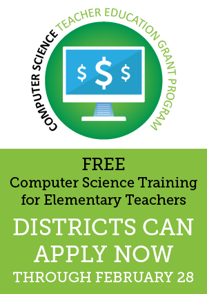 Graphic representing computer science training for CS grant for elementary teachers