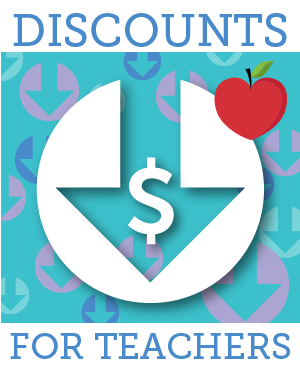 Graphics representing the TAW discounts available for teachers